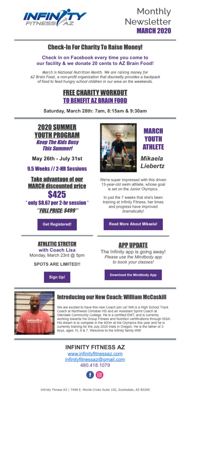 March 2020 Infinity Fitness Newsletter